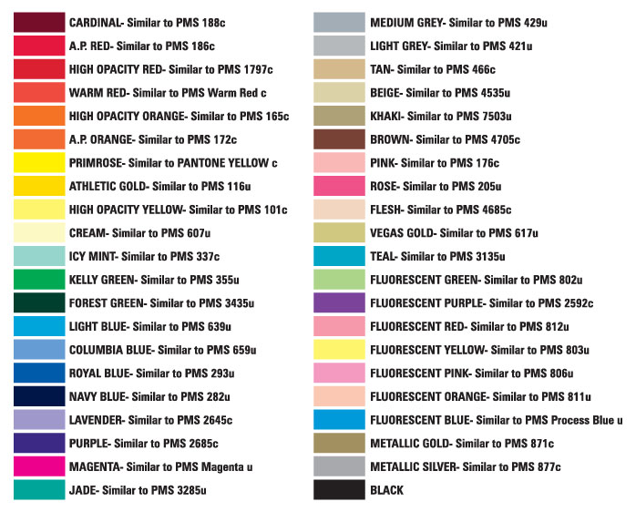 Unlimited Silkscreen Products Standard Colors